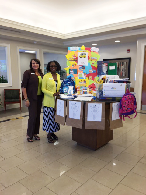 """HomeTrust Branch Manager, Lydia, and Sales and Service Associate, Cynthia, are excited to participate in the United Way's """"School Tools"""" program again this year!"""